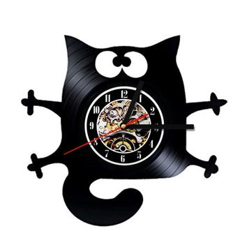 Cat Vinyl Record Wall Clock Handmade Vintage CD LED With 7 Colors