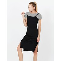 Stretchy Ribbed Short Sleeve Midi Slip Dress with Side Slit (CLEARANCE)