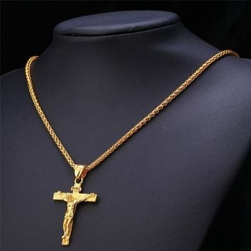 Cross Necklace INRI Jesus Piece Pendants Trendy Christmas Gift Women Men Jewelry Stainless Steel / 18K Gold Plated Chain