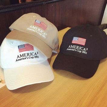 PEAPDQ7 American Flag Embroidered Outdoor Baseball Cap Hats in 3 Colors