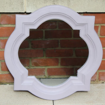 Light purple painted star compass wood frame mirror