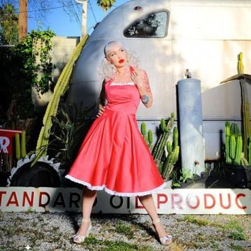 The Ginger Dress in Coral with White Eyelet Ruffle from Pinup Couture | Pinup Girl Clothing