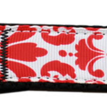 Damask Nylon Dog Leash 4 Foot Red