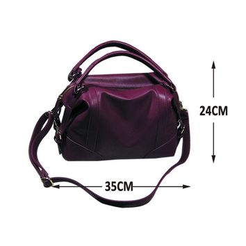 Soft  Leather Handbags  Zipper Shoulder Hobos Bags for Women