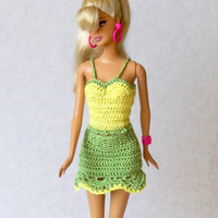 Hand Crochet Summer Outfit for Barbie - Yellow Top and Green Mini Skirt for Fashion Dolls