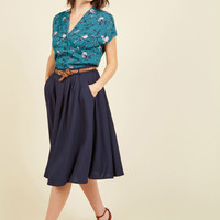 Breathtaking Tiger Lilies Midi Skirt in Navy in 2X