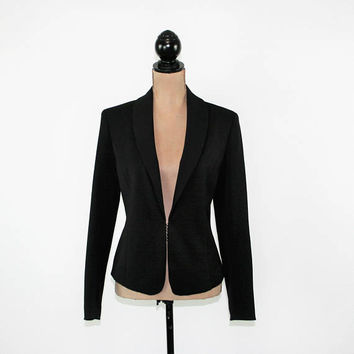 Edgy Black Jacket Women Medium Fitted Blazer Minimalist Jacket with Back Zipper Size 8 Jacket  Cache Womens Clothing