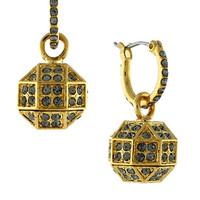 Louise Et Cie Gold Plated Pave Octagon Drop Earrings