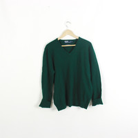 Vintage oversized sweater. POLO. Ralph Lauren. 100% Lambs Wool. V-neck sweater. Pullover. WOOL. Hunter Green. Large