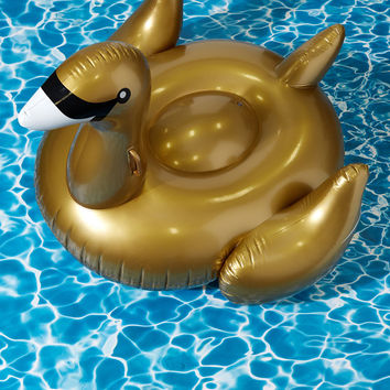 Flock on the Wild Side Pool Float in Gold Swan | Mod Retro Vintage Decor Accessories | ModCloth.com