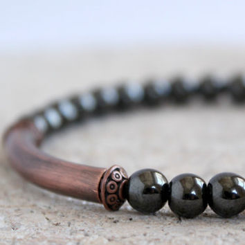 Oxidized Copper Tube Hematite Stretch Bead Bracelet Men Rustic Bohemian Jewelry