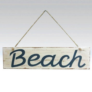 Weathered Beach Sign - Blue and White - 14-1/4 x 4 inches