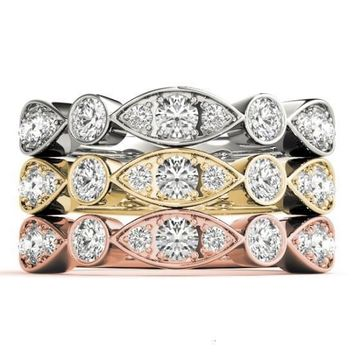 Stackables 1/2 Eternity Tri-Tone Gold Triple Diamond Marquise Bezel 3-Band Set