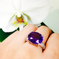 Amethyst and Diamond Ring, Solid White Gold