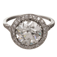 3.07 Carat Old European Cut Diamond Platinum Ring