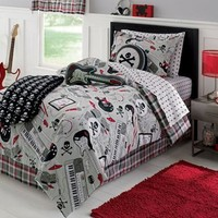 Rock Star, Guitar, Keyboard, Skull, Twin Comforter Set (6 Piece Bed In A Bag)
