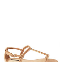 FOREVER 21 Faux Suede T-Strap Sandals Taupe