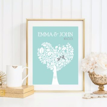 Wedding Gift, Canvas or Print, Personalized Love Birds Family Tree