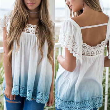 Shades Of You Ivory And Blue Dip Dye Trapeze Top
