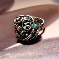 Turquoise silver coctail ring, turquoise wire wrapped ring, handmade OOAK jewelry