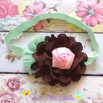 Big Baby Headband, Pink Brown Mint Headband, Fall Flower Infant Hairband, Toddler Hair Bows, Girls Hair Clip, Newborn Girl Prop, Big Bows