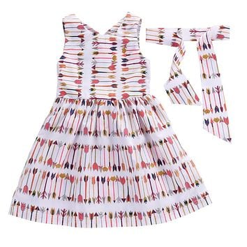 Kids Baby Girls Dress Arrow Summer Princess Dresses Baby Girls Clothes  New Arrival Party Pageant For Girls