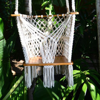 Handmade Baby Swing Organic Off-White Cotton Indoor/Outdoor Swing