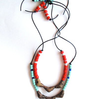 Long beaded necklace Native American mint and blue colored glass beads brass Ghanian beads on black leather cord