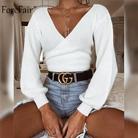 Forefair Off Shoulder V Neck White Sweaters Women Autumn Back Bow Long Sleeve Crop Tops Sexy Womens Winter Knitted Sweater