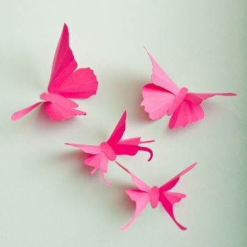 3D Wall Butterflies, 20 Fuchsia Pink Butterfly Silhouettes for Girls Room, Nursery, and Home Art Decor