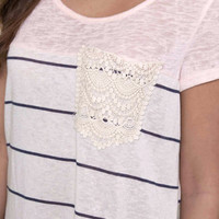 Crossing Paths Pink Short Sleeve Lace Pocket Tee