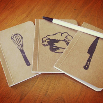 3 Kitchen Notebooks Collection, Pocket Journals, Perfect Bound Moleskines, Mini Diaries and Jotters, Recipe Books