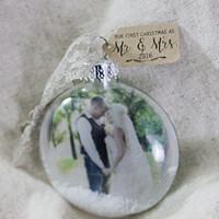 Our First Christmas Ornament, First Christmas as Mr and Mrs, Picture Ornament, Newlywed Ornament, Just Married Christmas Ornament,Keepsake