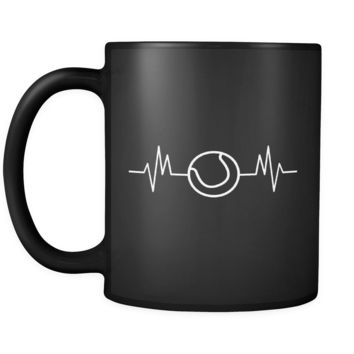 Heartbeat Tennis Mug in Black