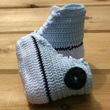 ONETOW newborn baby crochet booties pure cotton converse style basketball baby booty baby sho
