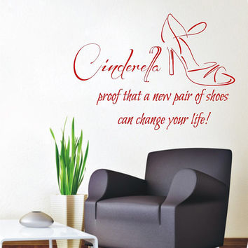Wall Decals Vinyl Decal Sticker Beauty Shop Quote Cinderella Pair Of Shoes Interior Design Art Mural Girl Bedroom Living Room Decor KT153