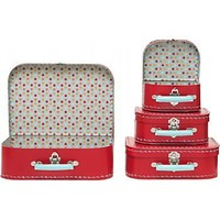 Large Red Multi Dots Suitcases