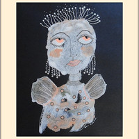 Primitive Woman - Raw Art Angel - Folk Art Angel - Black Orange - Girl Painting - Outsider Art Woman - Paintings Of Women - Spiritual Art