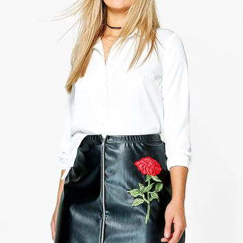 Plus Jessica PU Embroidered Mini Skirt | Boohoo