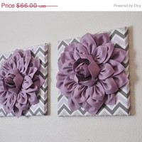 """MOTHERS DAY SALE Two Wall Flowers -Lilac Dahlia on Lilac Gray and White Chevron 12 x12"""" Canvas Wall Art- Baby Nursery Wall Decor-"""