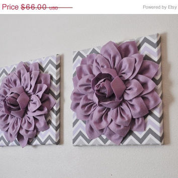 "MOTHERS DAY SALE Two Wall Flowers -Lilac Dahlia on Lilac Gray and White Chevron 12 x12"" Canvas Wall Art- Baby Nursery Wall Decor-"