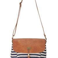 striped fabric crossbody bag