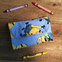 Crayon Wallet, Kids Wallet, Crayon Holder, Minions, Girls /Boys  Wallet, Travel Crayon