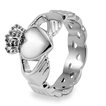 Stainless Steel Claddagh with Celtic Knot Eternity Design Ring (6 mm) - Size 5.0