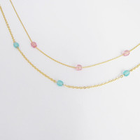 Opal Blue Chain Necklace / Turquoise Chain Strip / Birthstone Triple Necklace / Gift for Her / Simple Necklace / N298