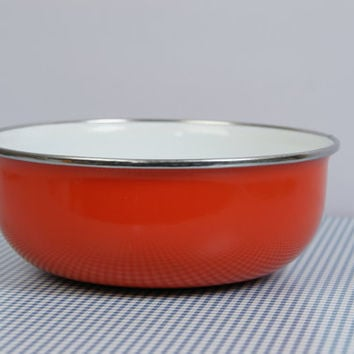 70's enamel bowl, orange bowl, Brabantia, Dutch style