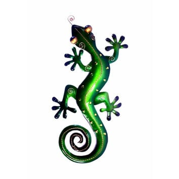 D Art Collection Iron Green Gecko WallDecor Medium