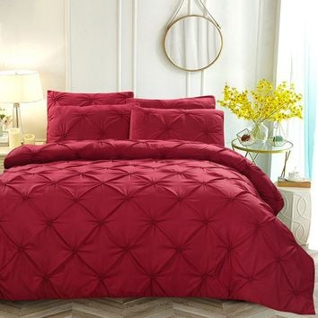 Luxury Duvet Cover Set Red/White/Black/Grey Pinch Pleat 2/3pcs Twin/Queen/King Size Home Hotel Bedding Sets No Sheet