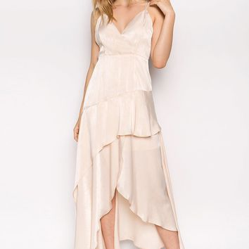 Olbia Satin Shimmer Ruffle Maxi Dress