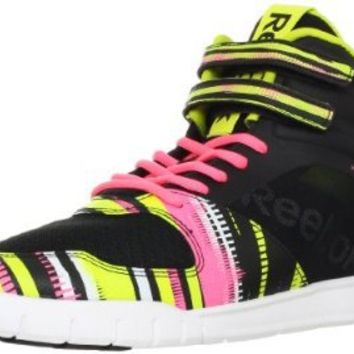 Reebok Women's Dance Urlead Mid Dance Shoe,Black/White/Pink Zing/Solar Green,7 M US